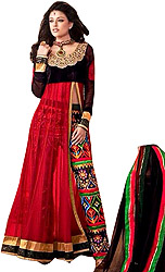 Jet-Black and Red Designer Anarkali Suit with Embroidered Parallel Salwar and Floral Patch on Neck