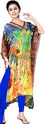 Multicolor Digital-Printed Choodidaar Kaftan Suit with Stone-work on Neck