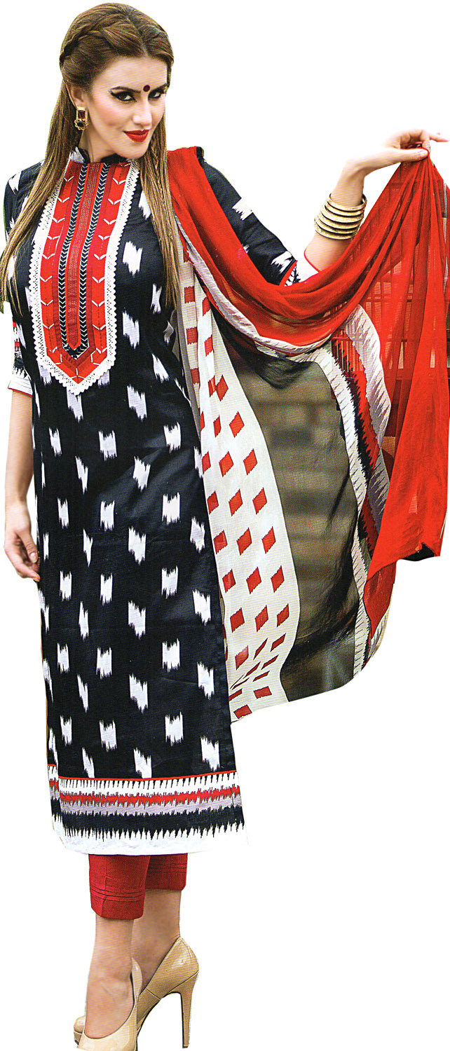 Parallel salwar suit with ikat print and embroidered patch