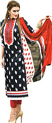 Parallel Salwar Suit with Ikat Print and Embroidered Patch on Neck