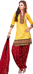 Primrose-Yellow and Red Patiala Salwar Kameez Suit with Woven Flowers and Embroidered Patches
