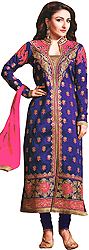 Prism-Violet Long Choodidaar Kameez Suit with Floral Zari Embroidery All-Over