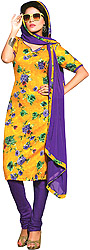 Citrus and Purple Coodidaar Kameez Suit with Digital-Printed Flowers and Chiffon Dupatta