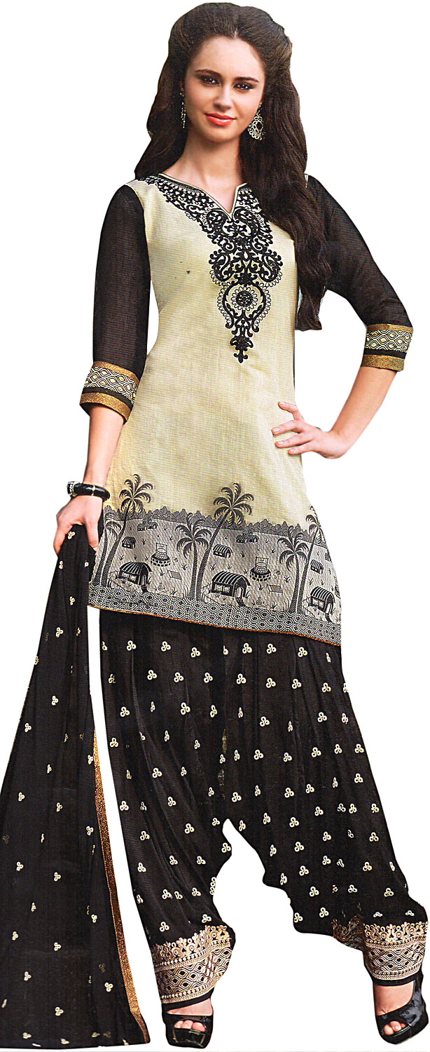 Ivory and black patiala salwar kameez suit with