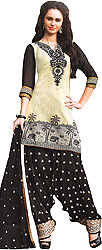 Ivory and Black Patiala Salwar Kameez Suit with Embroidered Patch on Neck and Woven Border