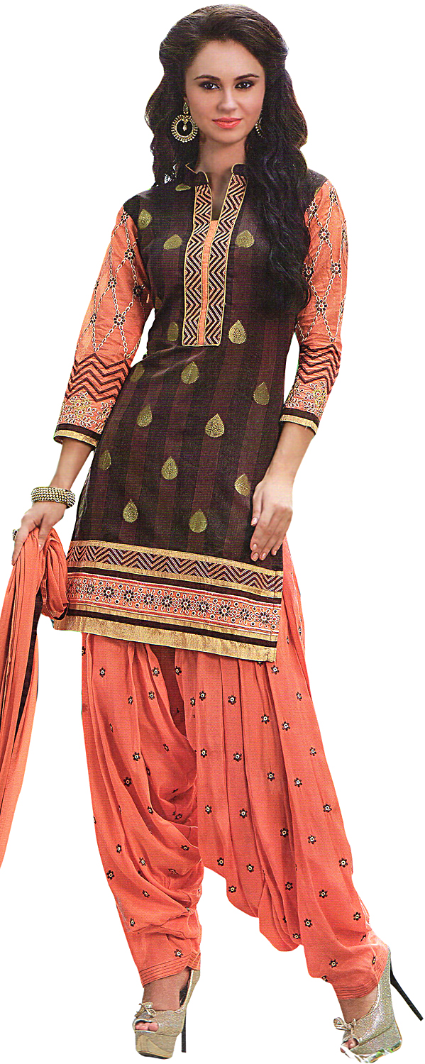 Cocoa brown and coral patiala salwar kameez suit with