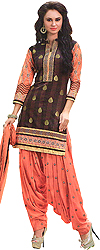 Cocoa-Brown and Coral Patiala Salwar Kameez Suit with Woven Bootis and Embroidered Patch Border