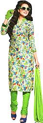 Cream and Green Choodidaar Kameez Suit with Digital-Printed Flowers All-Over