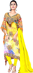 Primrose-Yellow Choodidaar Kaftan Suit with Digital-Print and Stone-work on Neck