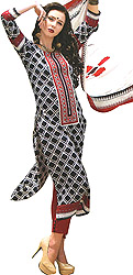 Parallel Salwar Suit with Embroidered Patch on Neck and Ikat Print
