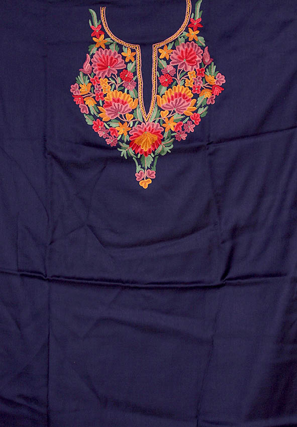 NavyBlue TwoPiece Suit From Kashmir With Floral Ari
