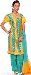 Mustard and Teal Salwar Kameez with Painted Leaves