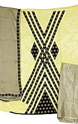 Yellow Banarasi Salwar Kameez  with Self Weave and Patch Border