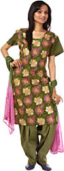 Henna-Green Salwar Kameez with All-Over Floral Ari Embroidery