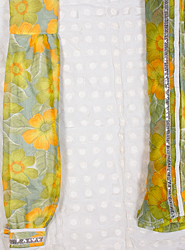 White Kameez Fabric with Chiffon Salwar and Dupatta