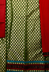 Myrtle-Green Banarasi Brocaded Salwar Kameez Fabric with All-Over woven Paisleys and Patch Border
