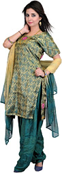 Moss-Green Brocaded Salwar Kameez Fabric with Embroidered Flowers