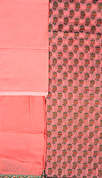 Peach Blossom Salwar Kameez Banarasi Handloom Fabric with Woven Flowers and Patch Border