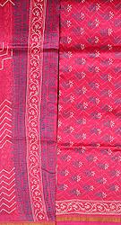 Carmine Block-Printed Chanderi Salwar Kameez Fabric