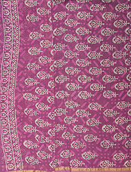 Mulberry-Purple Block-printed Chanderi Salwar Kameez Fabric with Golden Zari Border