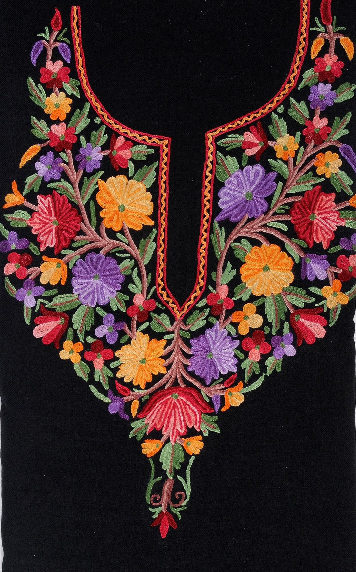 Black TwoPiece Salwar Kameez Fabric From Kashmir With