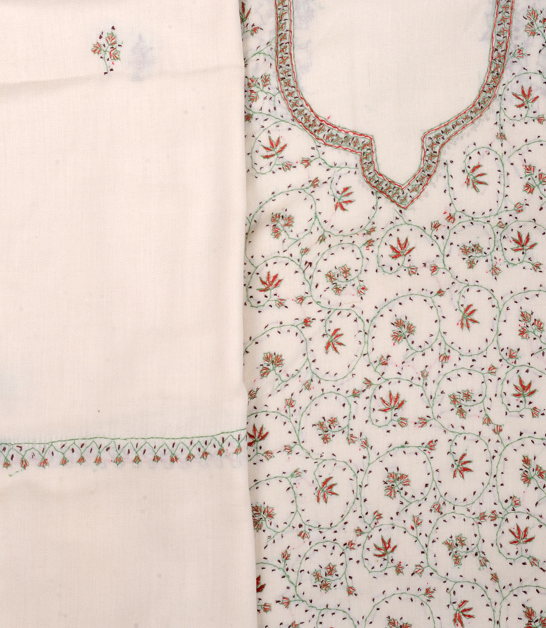 Cream salwar kameez fabric from kashmir with sozni