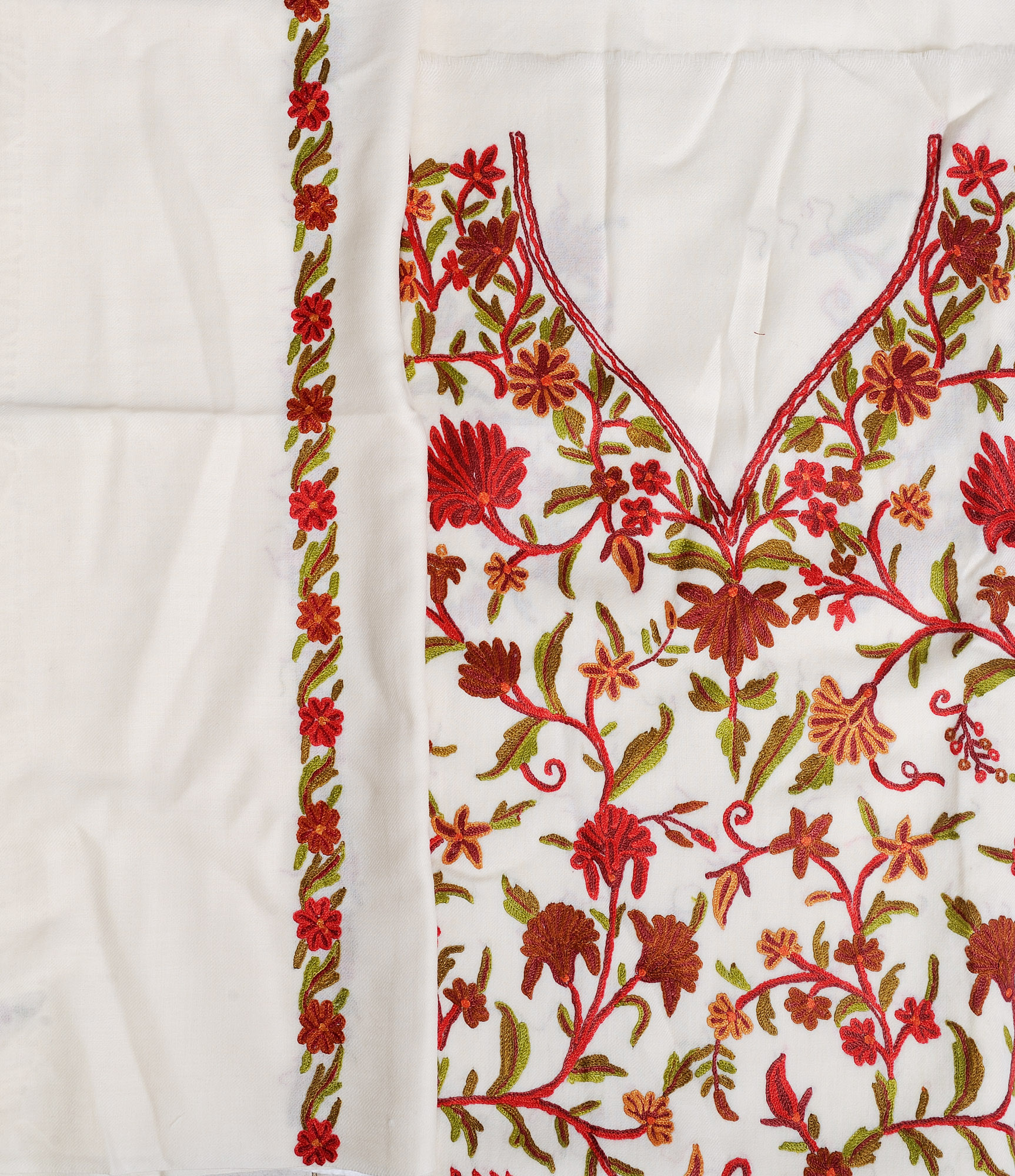 Ivory kashmiri sawar kameez fabric with hand embroidered