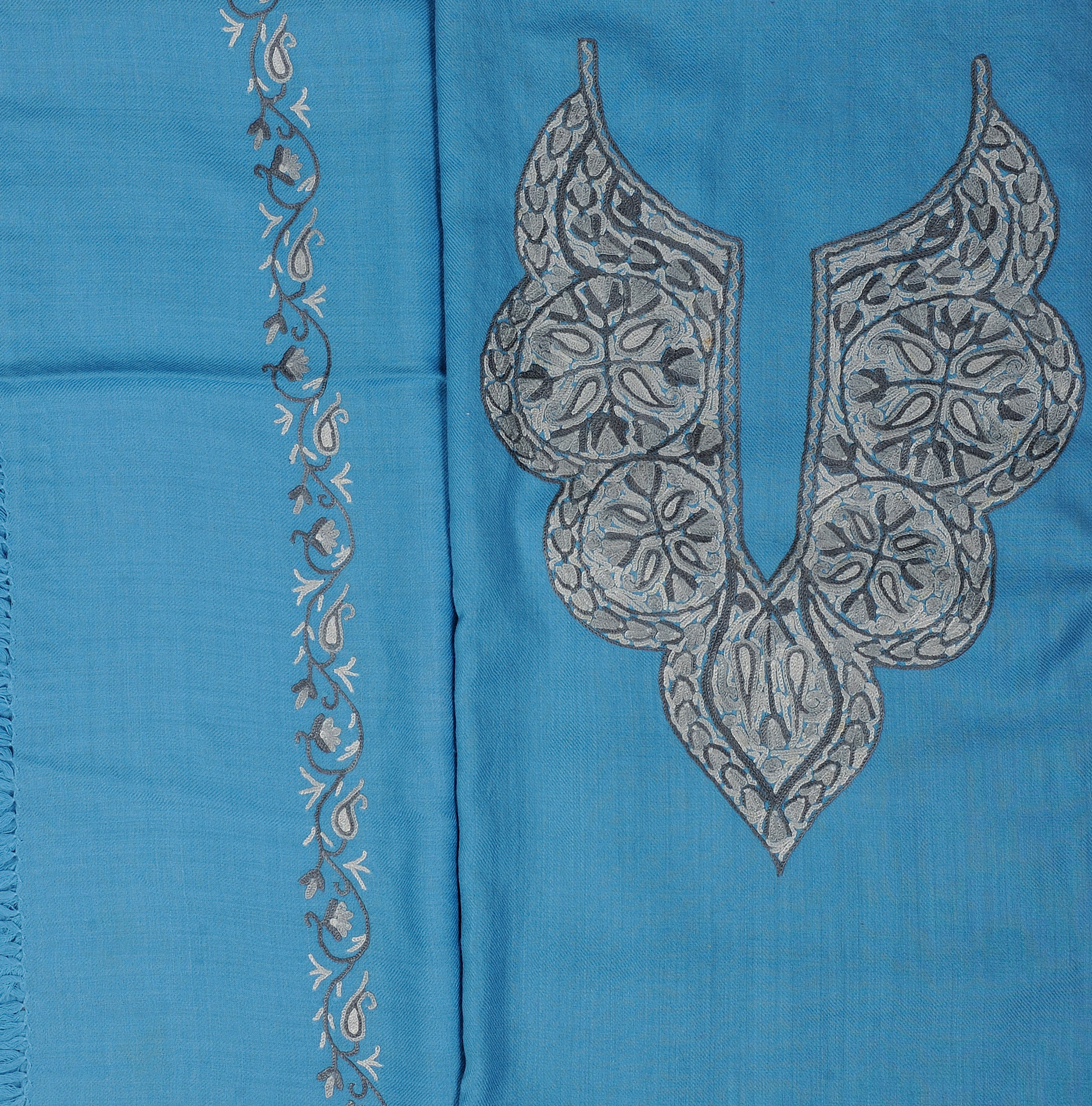 Ethereal blue salwar kameez fabric from kashmir with hand