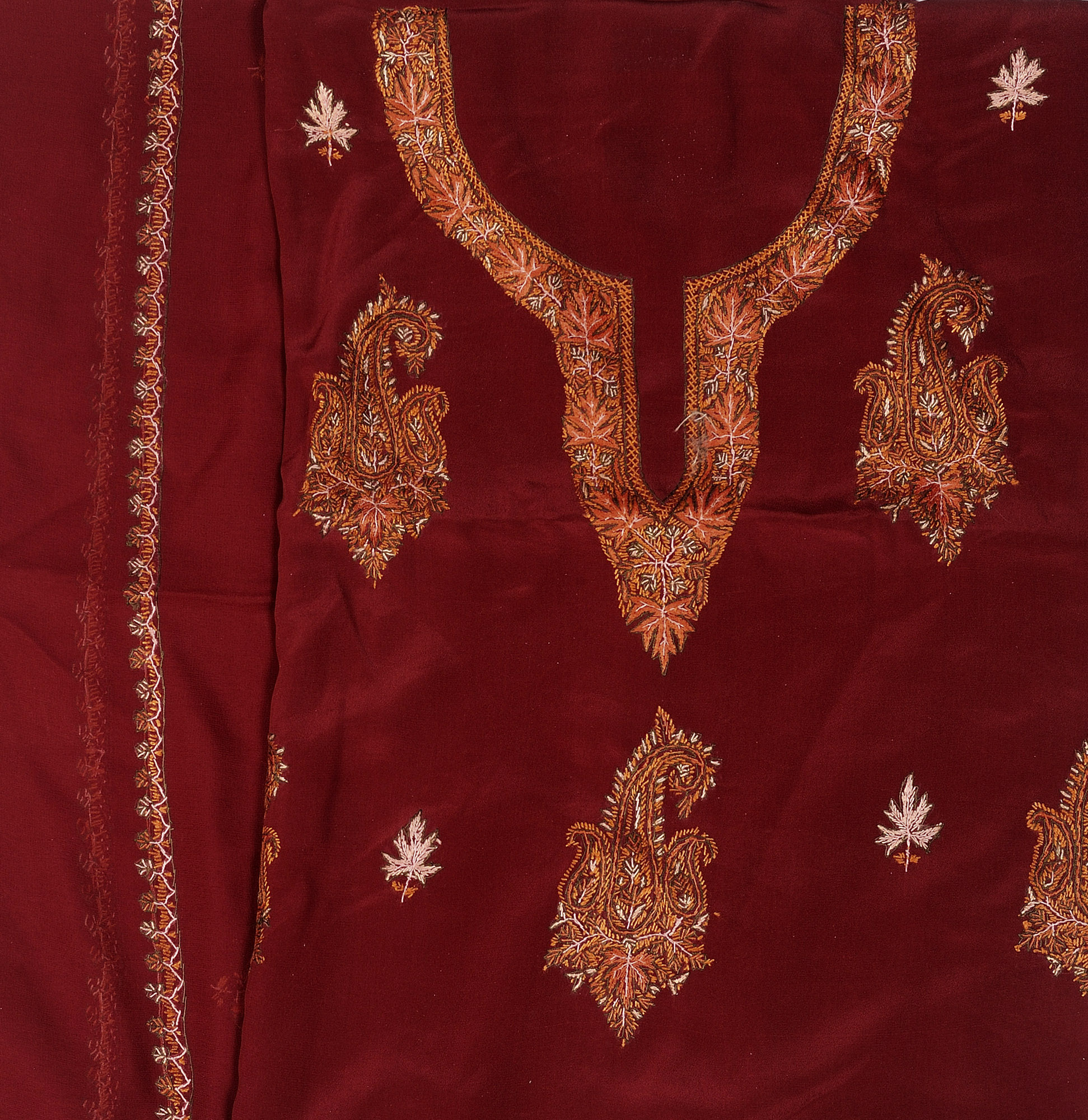 Maroon salwar kameez fabric from kashmir with sozni