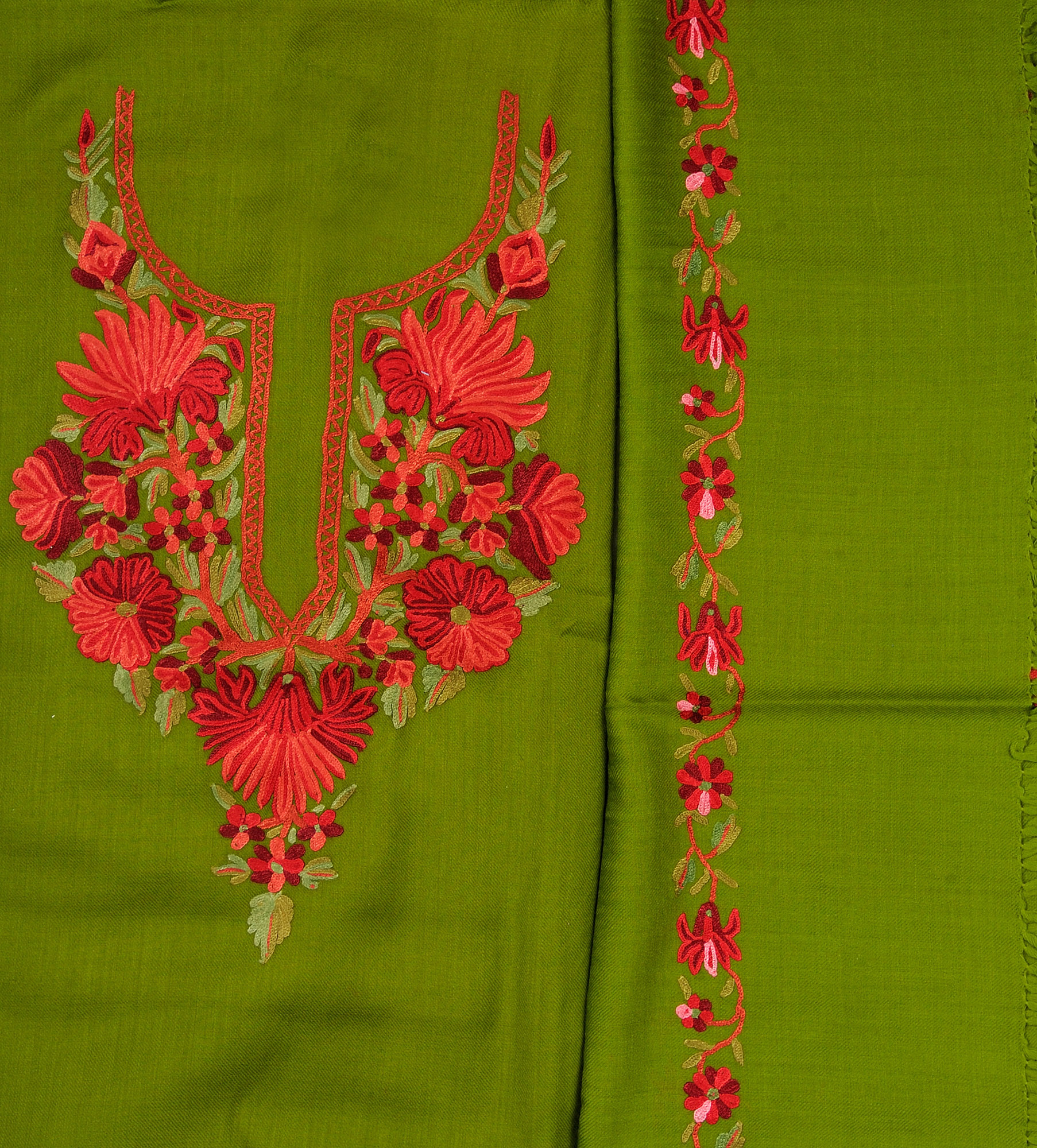 Fluorite green salwar kameez fabric from kashmir with hand