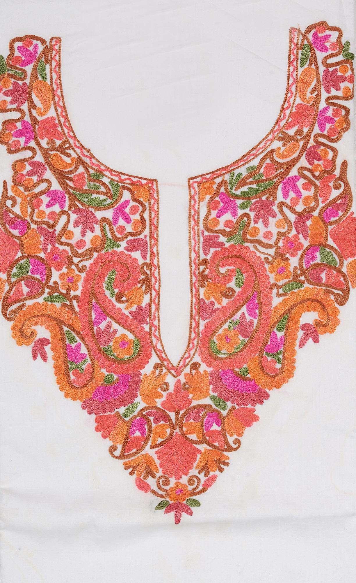 ChicWhite TwoPiece Salwar Kameez Fabric From Kashmir