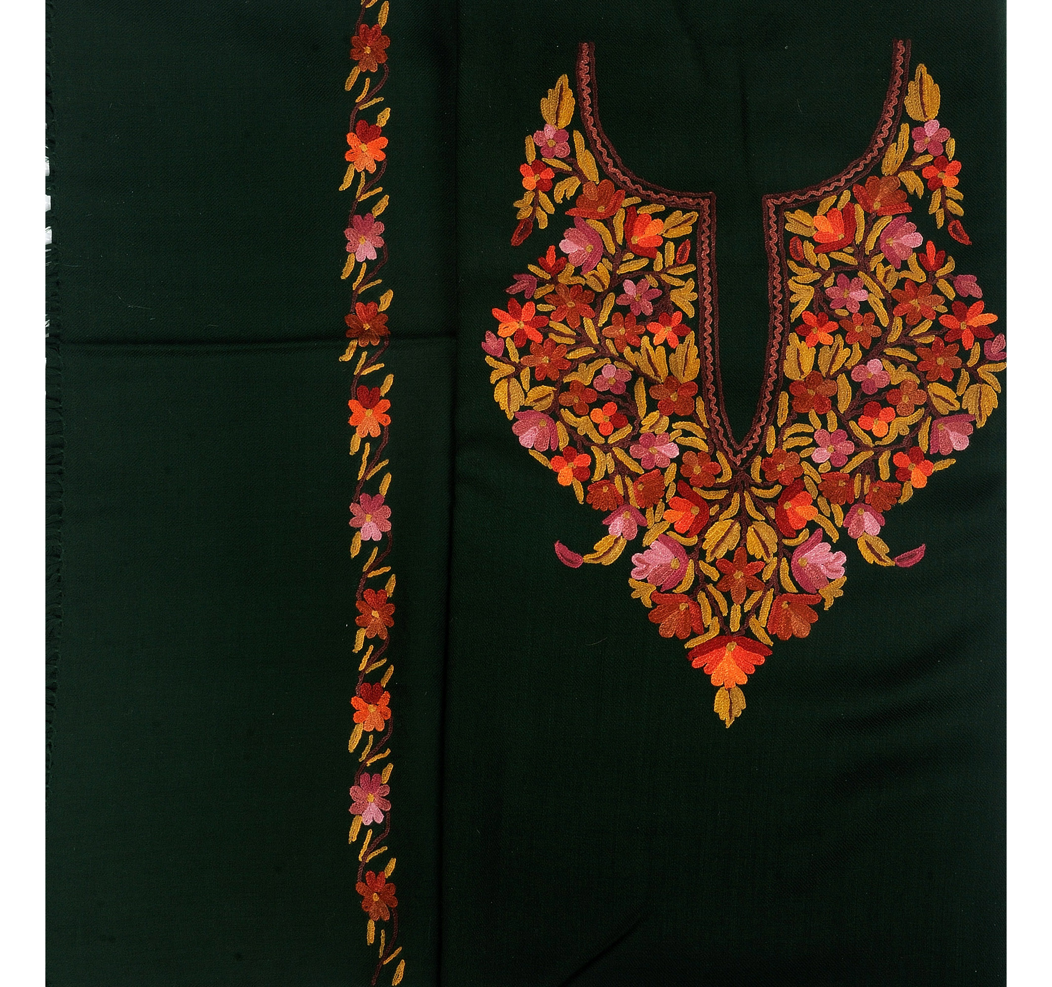 Rifle green salwar kameez fabric from kashmir with hand