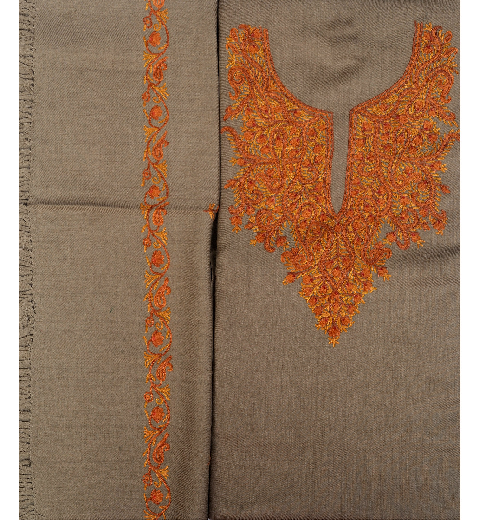 Timber wolf salwar kameez fabric from kashmir with hand