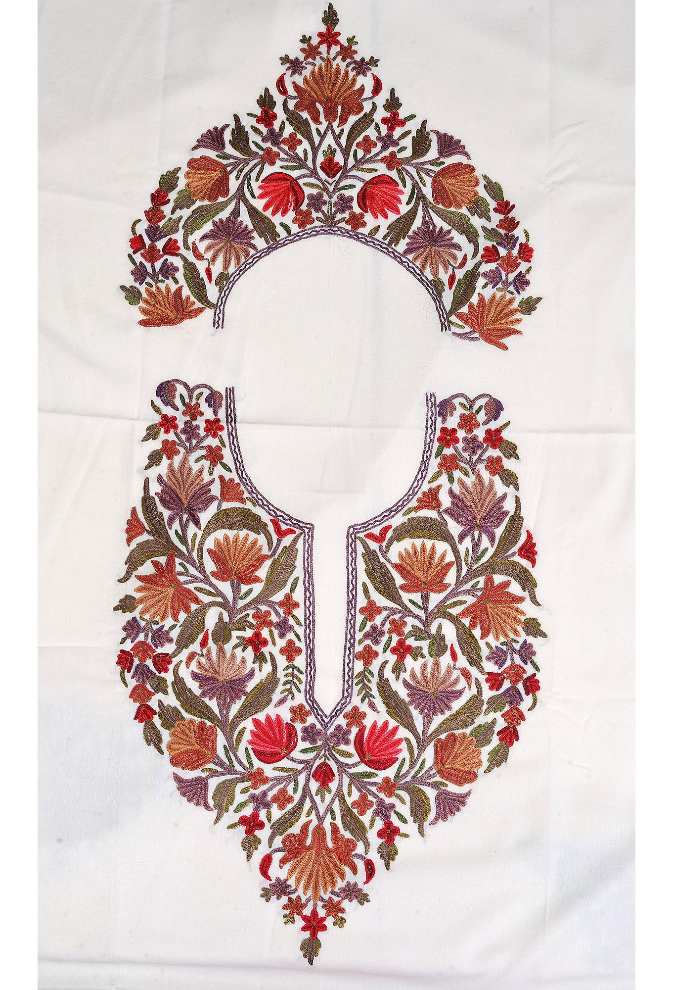 Gardenia kashmiri salwar kameez fabric with floral ari