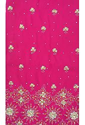 Vivid-Viola Salwar Kameez Fabric with Ari Embroidery in Metallic Thread