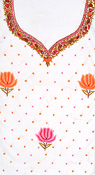 Snow-White Kashmiri Salwar Kameez Fabric with Floral Ari Embroidery