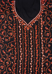 Jet-Black Salwar Kameez Fabric from Kashmir with Sozni Embroidery by Hand