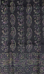 Jet-Black Salwar Kameez Fabric with Kantha Embroidery by Hand
