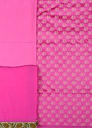 Lemonade-Pink Banarasi Salwar Kameez Fabric with Woven Flowers