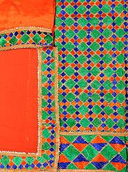 Jaffa-Orange Phulkari Hand-Embroidered Salwar Kameez Fabric from Punjab with Gota Border