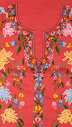 Rose-Red Kashmiri Salwar Kameez Fabric with Floral Ari Embroidery by Hand