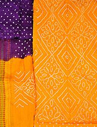 Saffron and Purple Bandhani Tie-Dye Salwar Kameez Fabric from Jodhpur