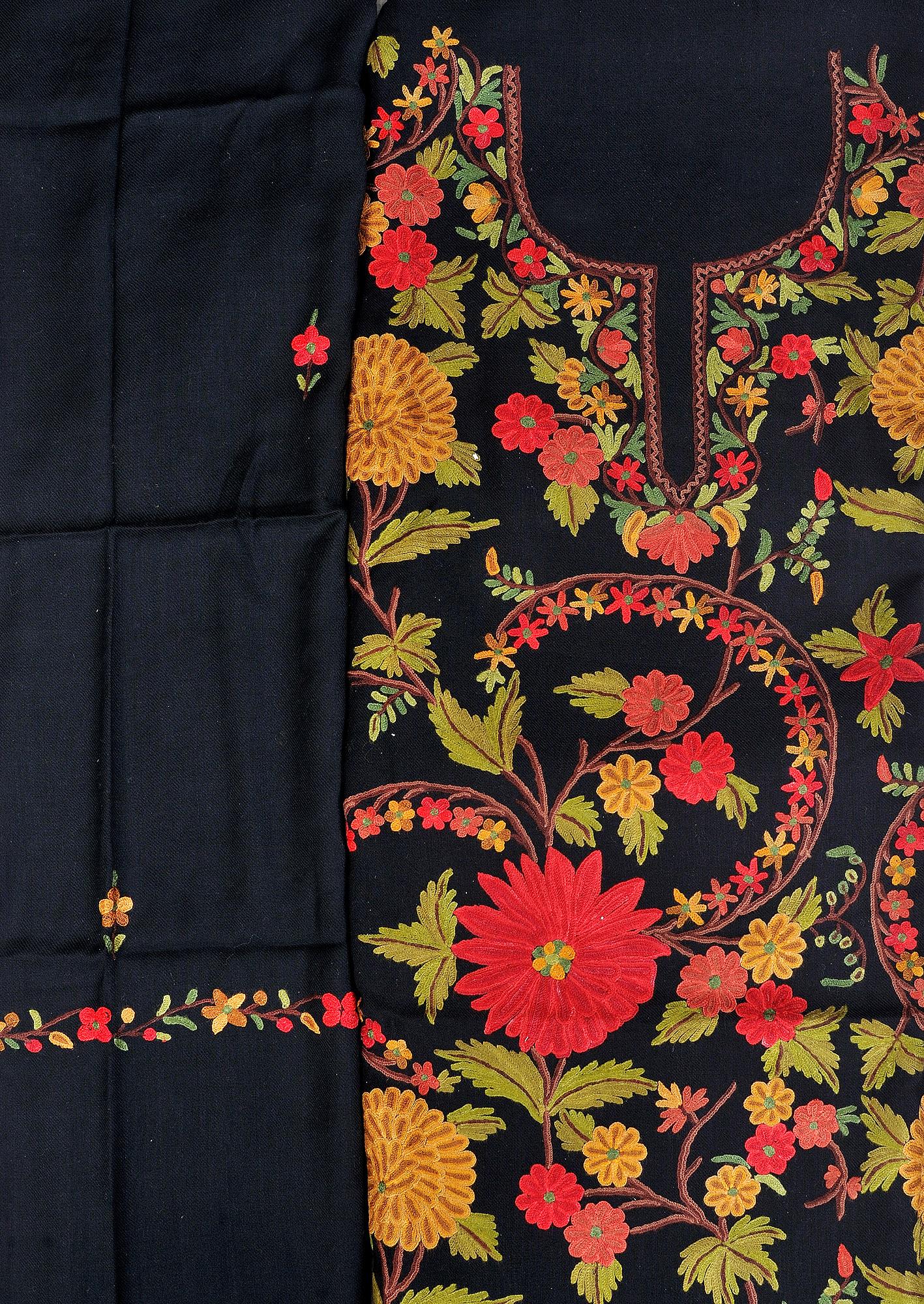 Jet black salwar kameez fabric from kashmir with ari hand