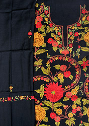 Jet-Black Salwar Kameez Fabric from Kashmir with Ari Hand-Embroidered Flowers