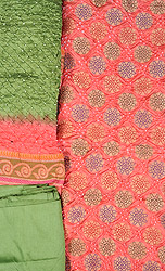 Burnt-Coral and Green Bandhani Tie-Dye Salwar Kameez Fabric from Gujarat with Woven Chakras