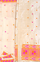 Brulee-Colored Salwar Kameez Fabric From Punjab with Phulkari Embroidery