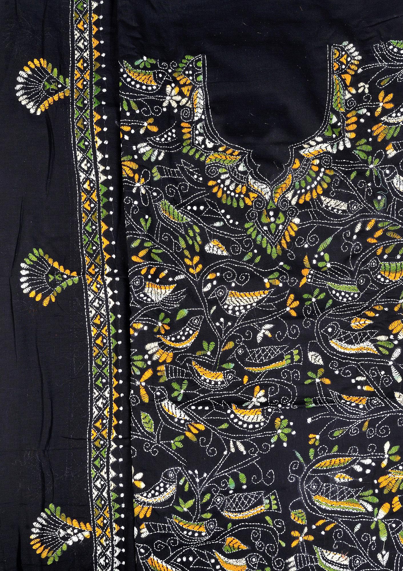 Jet black salwar kameez fabric from kolkata with kantha