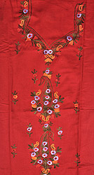 Rococco-Red Salwar Kameez Fabric From Kashmir with Ari Embroidered Paisleys by Hand
