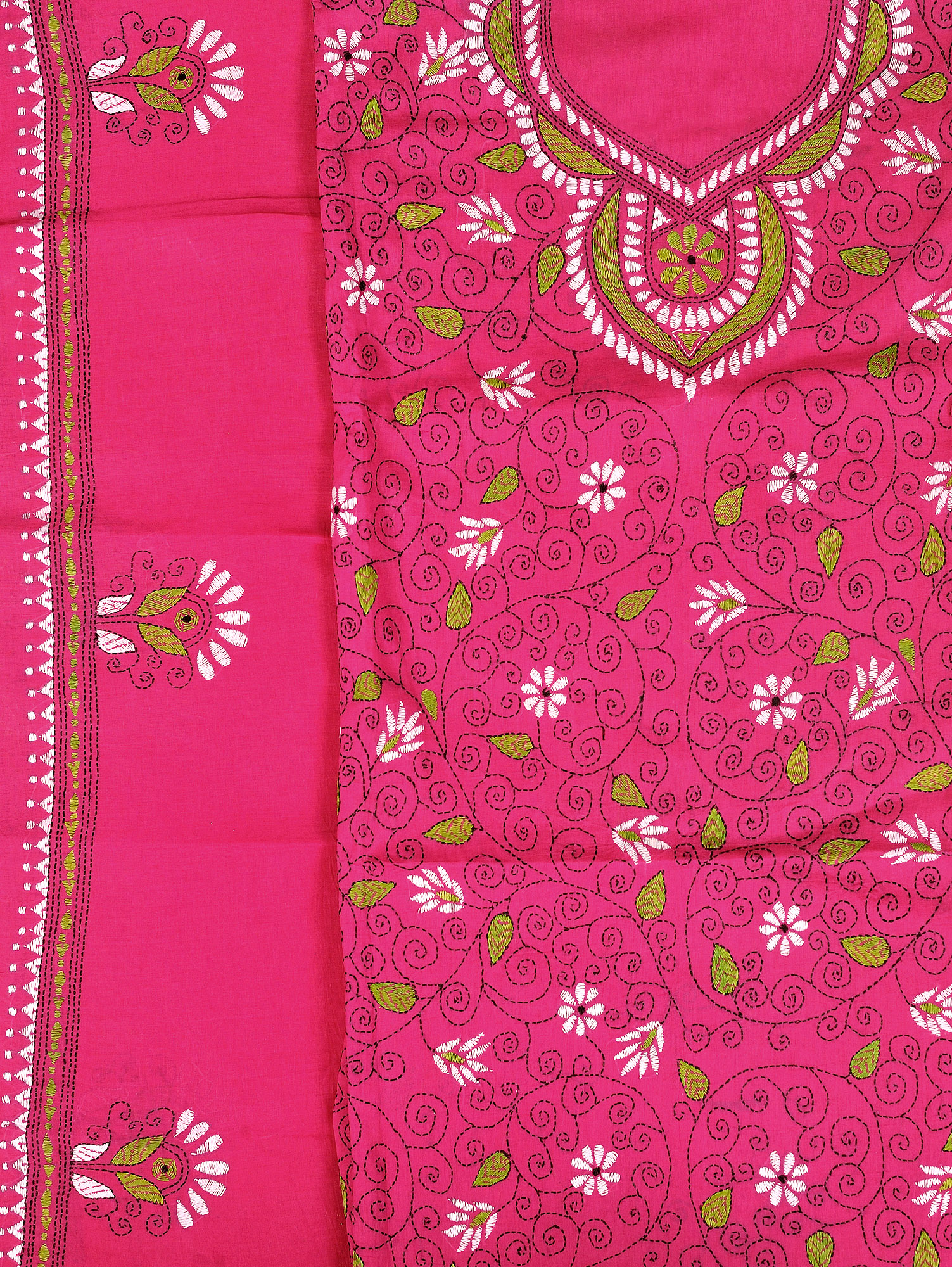 Magenta salwar kameez fabric from kolkata with kantha hand