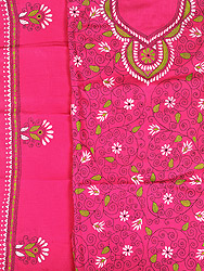 Magenta Salwar Kameez Fabric from Kolkata with Kantha Hand Embroidery
